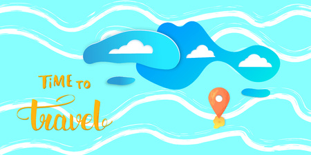 Travel banner. Decorative background with map pointer, clouds and handwritten lettering. Horizontal card with paper cut style shapes. Template for holiday design. Vector illustration.