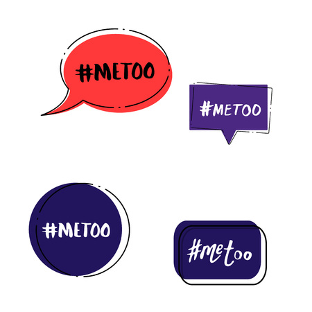 Set of Metoo cards. Handwritten lettering Me too. Social movement hashtag against sexual assault and harassment. Vector illustration.