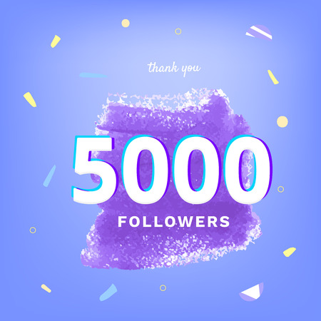 5K followers thank you post with decoration. 5000 subscribers banner. Template for social media networks. Vector illustration.