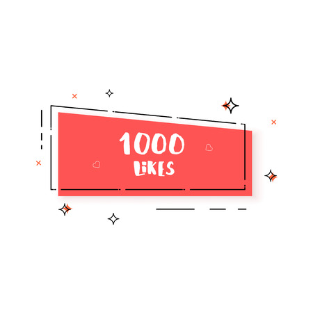 1000 likes thank you banner isolated.  Greeting card with for social networks. Template for social media channel. Vector illustration.