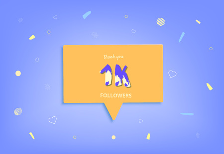 1K followers thank you post with decoration. 1000 subscribers horizontal banner with speech bubble. Greeting card for social networks. Vector illustration.