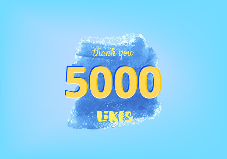 5000 likes thank you post. Greeting card with watercolor element for social networks. Template for social media. Vector illustration. Illusztráció