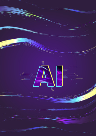 Artificial Intelligence vertical banner. AI letters on darl background with shine lines. Vector illustration.