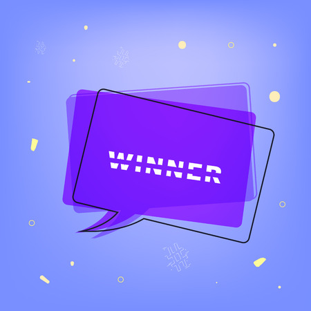 Winner square card with speech bubble. Sliced  lettering. Template for social media. Vector illustration.