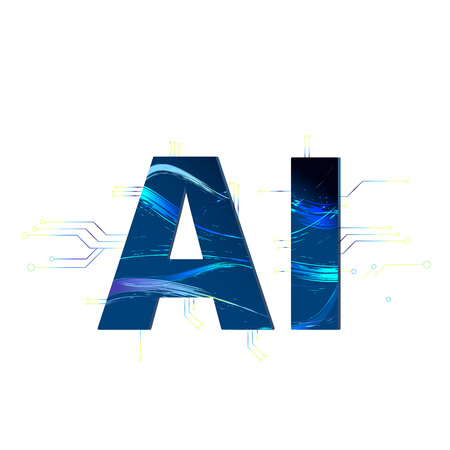 Artificial Intelligence. AI letters isolated on white background. Vector illustration.