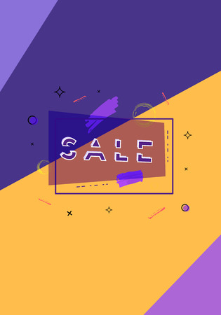 Sale banner with geometric abstract composition. Promotion vertical card with text. Poster for advertising design. Vector illustration.