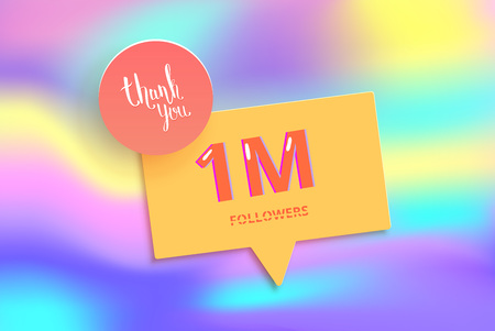 1M followers thank you post with decoration. 1000000 subscribers banner with speech bubble. Greeting card 1 million for social networks. Vector illustration.