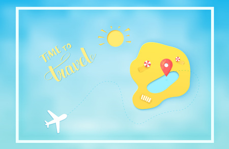 Time to travel banner with frame. Air card with papercut island, airplane map pointer and handwritten lettering. Template for holiday design. Vector illustration.