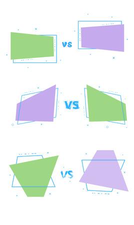 Set of vs cards. Versus screen template. Vector illustration.