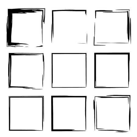 Set of black  frames. Square borders. Vector illustration.