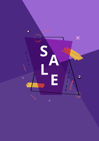 Sale banner with geometric abstract composition. Ultra violet promotion card with  text. Template with decoration for advertising design. Vector illustration.