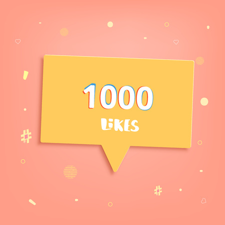 1000 likes thank you post. Greeting card 1K with yellow speech bubble for social networks. Template for social media channel. Vector illustration.