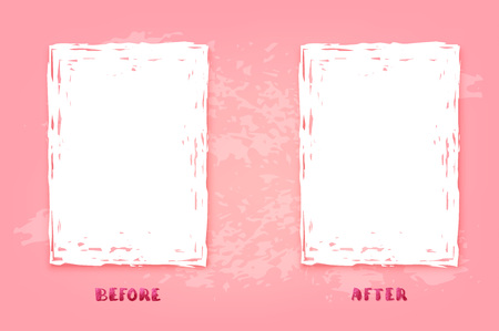 Before and After pink screen. Comparison banner with empty space. Template for graphic design. Vector illustration.