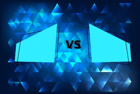 VS horizontal card with geometric shapes. Horizontal versus screen template. Vector illustration. Illustration