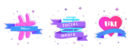 Social media set of  banners with lettering isolated on white background. Like, Follow me text on decoration shapes. Elements for public channels design. Vector illustration. Illustration
