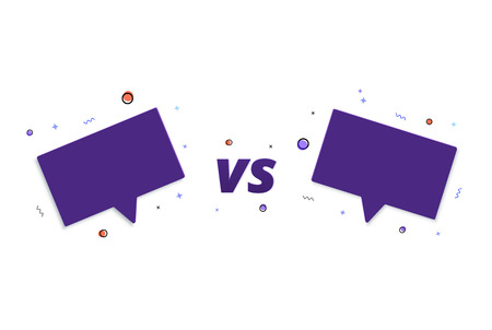 VS card with speech bubbles.  Versus screen template. Vector illustration.