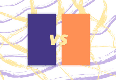 VS horizontal card with brush line background.  Versus screen template. Vector illustration.