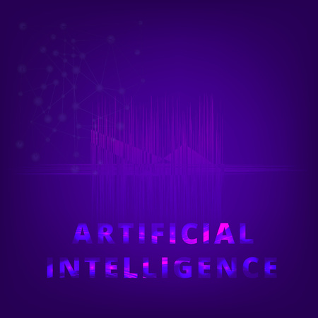 Artificial Intelligence. AI banner with abstract futuristic background. Vector illustration.