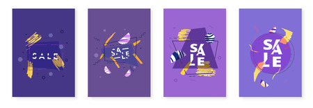 Set of Sale banners with geometric abstract composition. Promotion cards with sliced text effect. Poster for advertising design and social media. Vector illustration.