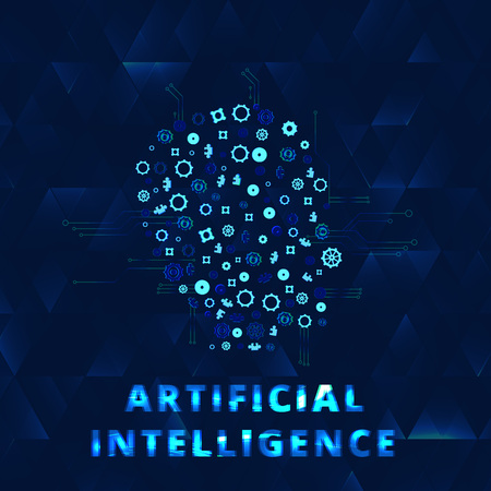 Artificial Intelligence banner with face decoration and creative letters. AI concept. Vector illustration.