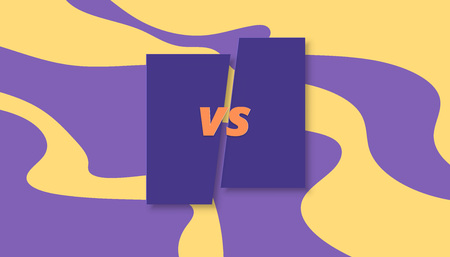 VS horizontal card.  Versus screen template. Vector illustration.