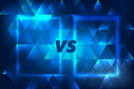 VS horizontal card.  Versus screen template. Vector illustration.