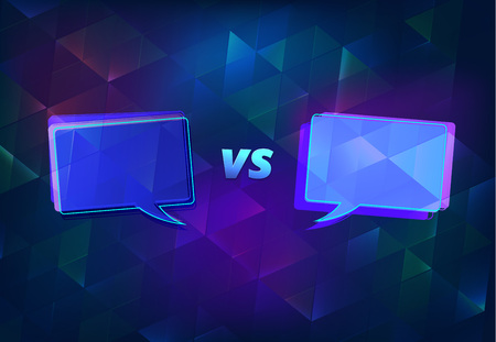 VS horizontal card with speech bubbles.  Versus shine screen template. Vector illustration.