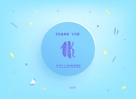 1K followers thank you post with decoration. 1000 subscribers  vintage banner with round badge. Greeting card for social networks. Vector illustration.