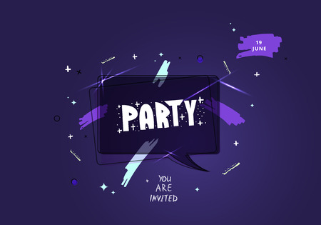 Party banner. Vertical event flyer for holiday design with geometric decorative elements and creative lettering. Vector illustration. Illustration