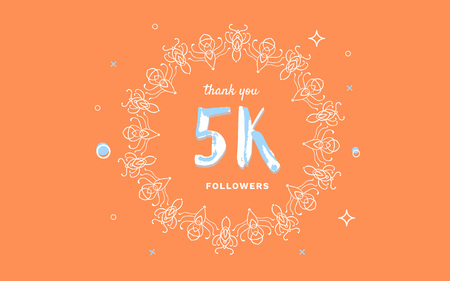 5K followers thank you post with decoration. 5000 subscribers horizontal vintage banner with round decorative frame. Greeting card for social networks. Vector illustration.