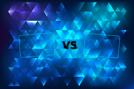 VS horizontal card with abstract background. Versus screen template. Vector illustration.