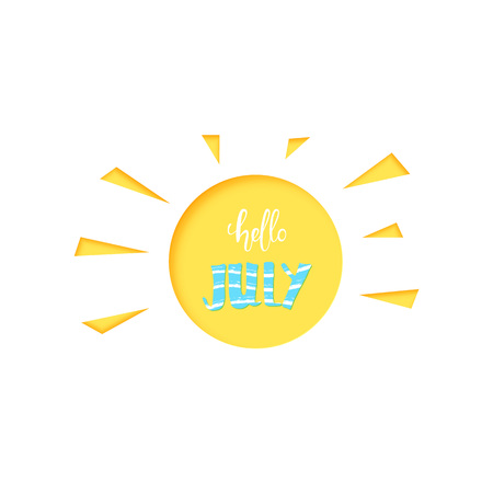 Hello July banner. Handwritten lettering and sun papercut shape isolated on white background. Vector illustration.