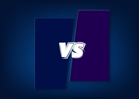 VS dark horizontal card. Versus screen template. Vector illustration.