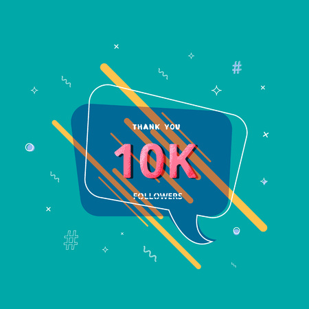 10K followers thank you post with decoration. 10000 subscribers  banner. Greeting card for social networks. Vector illustration. 일러스트