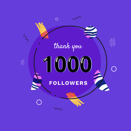 1K followers thank you post with decoration. 1000 subscribers  banner with round badge. Greeting card for social networks. Vector illustration. Illusztráció