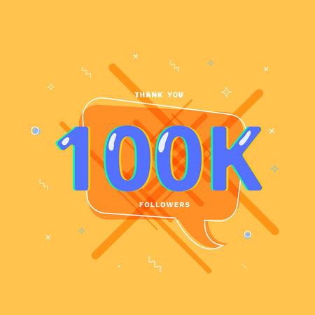 100K followers thank you post with decoration. 100000 subscribers bright banner with speech bubble. Greeting card for social networks. Vector illustration. Vektoros illusztráció