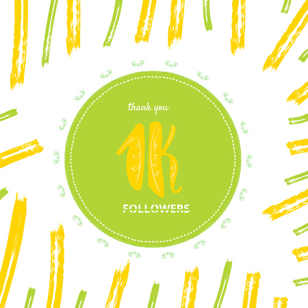 1K followers thank you post with brush line decoration. 1000 subscribers square vintage banner with round decorative frame. Greeting card for social networks. Vector illustration. Illustration
