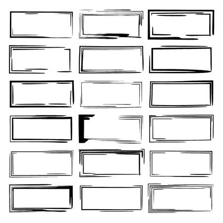 Set of black rectangle grunge frames. Collection of square borders. Vector illustration.