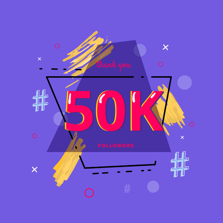 50K followers thank you post with decoration. 50000 subscribers  banner with geometric badge. Greeting card for social networks. Vector illustration. Illusztráció