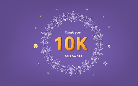 10K followers thank you post with decoration. 10000 subscribers horizontal vintage banner with round decorative frame. Ultra violet greeting card for social networks. Vector illustration. Illusztráció