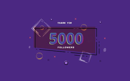 5K followers thank you post with decoration. 5000 subscribers  banner with linear badge. Greeting card for social networks. Vector illustration.