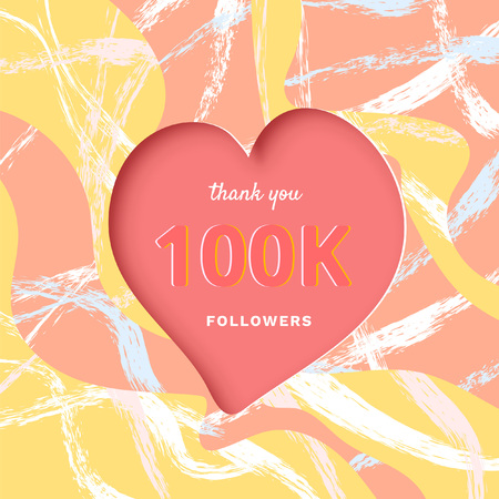 100K followers thank you post with heart shape and decoration. 100000 subscribers celebration banner with creative background. Greeting card for social networks. Vector illustration.