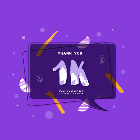 1K followers thank you post with decoration. 1000 subscribers banner with speech bubble badge. Greeting card for social networks. Vector illustration.