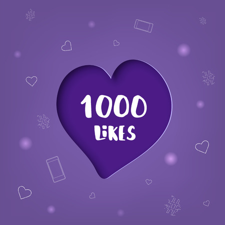 1000 likes banner with heart shape. Celebration 1k like card for social networks. Template for social media post. Vector illustration.