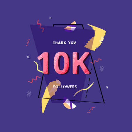 10K followers thank you post with decoration. 10000 subscribers banner with geometric badge. Greeting card for social networks. Vector illustration.
