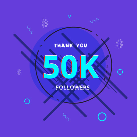 50K followers thank you post with decoration. 50000 subscribers  banner with round badge. Greeting card for social networks. Vector illustration. 向量圖像