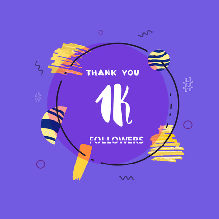 1K followers thank you post with decoration. 1000 subscribers  banner with round badge. Greeting card for social networks. Vector illustration. 向量圖像