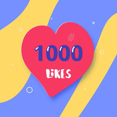 1000 likes  banner with heart shape. Celebration 1k like card for social networks. Template for social media post. Vector illustration. Illustration