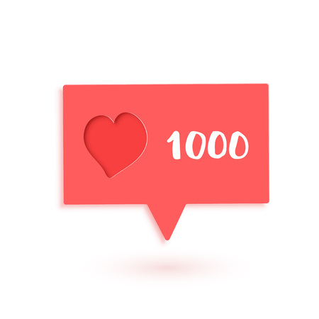 1000 likes  banner with heart shape and speech bubble. Celebration 1k like card for social networks. Template for social media post. Vector illustration. Illustration