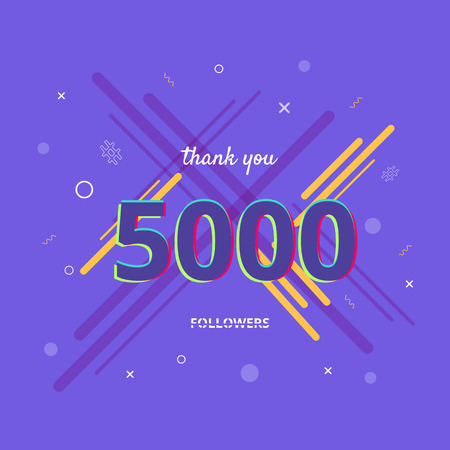 5K followers thank you post with decoration. 5000 subscribers  banner. Greeting card for social networks. Vector illustration.